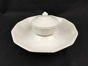 -Pfaltzgraff Heritage White Chip and Dip Set with Lid