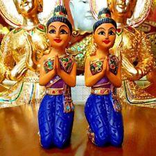 2 Pcs Thai Lady Sawasdee Wood Doll Decorative Carved Thai Dress Sculpture Statue
