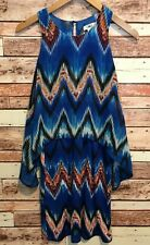 Cato Women's Small Knee Length Sleeveless Tiered Shift Dress Blue Orange Chevron