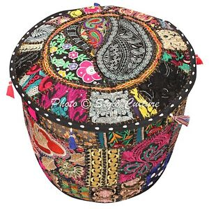 """Indian Hassock Pouf Cover Bohemian Embroidered Round Ottoman Stool Patchwork 22"""""""