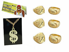 Fancy Dress Del Boy Chav Mr T Gangster Costume 6 SOVEREIGNS + $ DOLLAR NECKLACE