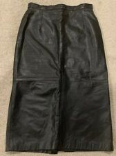 Vintage Black Leather Midi Skirt Size 9 10