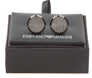 Emporio Armani EGS2254060 Deco Collection Black Ion-plated Steel Men's Cufflinks