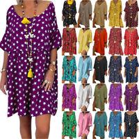Women Holiday Smock Dress Loose Baggy Tunic Tops Summer Beach Sundress Plus Size