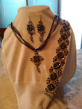 OOAK Handmade Beadwoven Blue and Gold Necklace Bracelet & Earrings Set