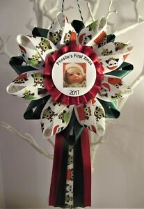 Handmade Baby's First Christmas Rosette, Decoration or Corsage