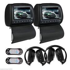 """Dual 9"""" Headrest Car DVD Player with Zipper Screen Cover Games+IR Headphone"""