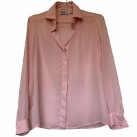 Vintage Pink Blouse Gary Frederic. Size 12. High Neck Button. Semi Sheer.