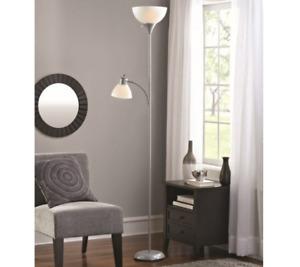 Standing Floor Lamp 72'' Light Electric Lighting Silver 2 Bulps Plastic Shade