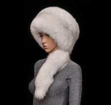 Saga Furs Natural Blue Fox Fur Handmade Beanie Beret Hat + Tail