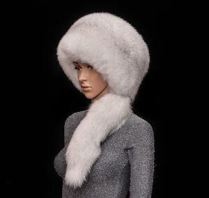 Saga Furs Natural Blue Fox Fur Handmade Beanie Beret Hat + Tail