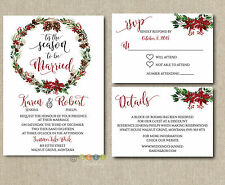 Personalized Winter Wedding Invitations Wreath Pine Tree Holiday with Envelopes