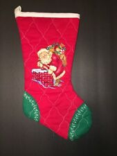 Vntg Christmas Stocking Quilted Santa Chimney Toy Sack Red Green