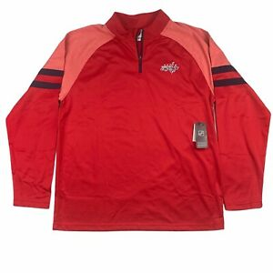 Washington Capitals Mens 1/4 Zip Pullover Red, Embroidered Print - L XL 2XL NWT
