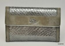 Nib Francesco Biasia FIONA Snake Leather Flap Wallet French Purse Bag ~Gunmetal