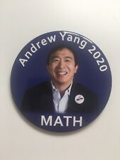"""2020 Andrew Yang for President 3"""" Button Pin """"MATH"""" """"Andrew Yang 2020"""""""