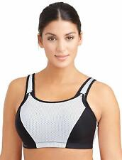 GLAMORISE White/Black Adjustable Support Underwire Sports Bra, US 34G, NWOT