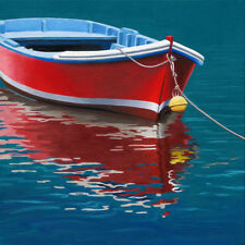 DANFORTH Red Boat 8x8 archival giclee paper print of a realistic painting