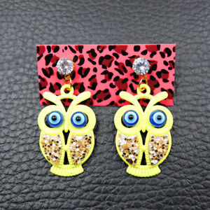 Betsey Johnson Alloy Crystal Rhinestone Yellow Owl Drop Earrings Fashion Jewelry