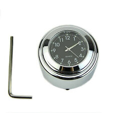 "7/8"" 1"" Motorcycle Bike Chrome Waterproof Dial Handlebar Clock Glow Watch Useful"