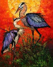 ANDRE DLUHOS WILDLIFE ANIMALS BIRDS BLUE HERON CRANE LIMITED EDITION ART PRINT
