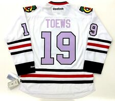 JONATHAN TOEWS CHICAGO BLACKHAWKS LAVENDER CANCER REEBOK PREMIER JERSEY