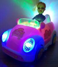 BUMP & GO STUNT TOY CAR & DOLL LED LIGHTS MUSIC TODDLER GIRLS PINK TOYS  21CM