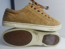 UGG AUSTRALIA TOMI SIZE UK 4.5 EU 37 WOMEN LIGHT BROWN FLAT LACE TRAINERS SHOES