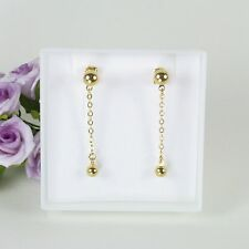 E10 18K Gold Filled Chain and Ball Dangle Stud Earrings