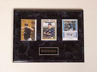 RYAN BRAUN & JJ HARDY Milwaukee Brewers MLB AUTOGRAPH - 3 Signed Cards w/ Plaque