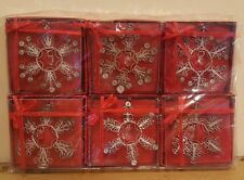 Silver Plated SnowFlake Filigree Christmas Ornament Set of 6