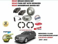 FOR MERCEDES C200 1.8 SPORT ESTATE 2007-> REAR BRAKE DISC + PADS SET + SHOES KIT