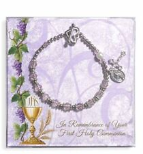 Pearl and Pink Crystal First Communion Bracelet with 2 Charms NEW SKU VC162