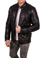 Herren Lederjacke gesteppt Schafsleder Bikerjacke Steppjacke Leather Blouson fit