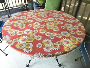VINTAGE ROUND TABLECLOTH ORANGE WITH YELLOW AND WHITE FLOWERS AND FRINGE