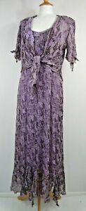 Ann Balon Mother of the Bride Purple Lace Dress & Jacket Size L / UK 14