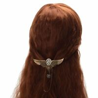 Girls' Vintage Steampunk Gear Wing Sheild Hairpin Medieval Victorian Hair Clip