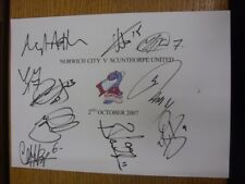 02/10/2007 Norwich City v Scunthorpe United - Hand Signed/Autographed A4 Match C