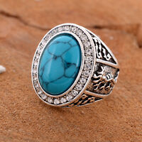 TURQUOISE GEMSTONE 925 STERLING SILVER PLATED RING SIZE 7, 8, 9, 10, 11 SR1001