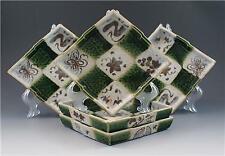 Vintage Japanese Oribe Ware Green Set of 5 Ceramic Diamond Shape Tea Plates