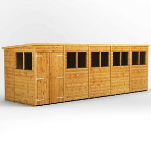 20x6 Power Pent Two Window Panels and Double Doors Garden Shed l B GRADE SHED