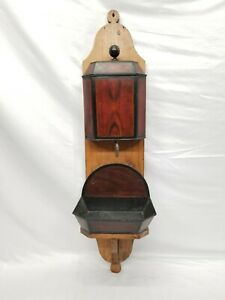 Antique Wood Carved Wall Hanging Metal Dry Sink Rare