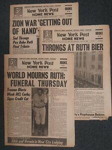 Babe Ruth Death - Yankees - Baseball - 1948 New York Post Newspapers