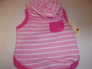 PINK Striped Pocket Dog Hoodie XS S Pet new Bond & Co Puppy xsmall sweat shirt