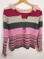 Laura Ashley Jumper Size S Small (8/10 UK) Striped Red Pink Gray 100% Lambswool