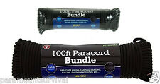 Black 550 Cord Paracord 100 Ft Lanyard Type III 7 Strand Camping Survival NEW