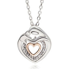 Mother Necklace Mom Silver Crystal Heart Pendant New Jewelry Mothers Day Gift