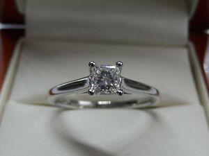 Exceptional Princess Cut Diamond Solitaire Engagement Ring Size M VVS1 F/G