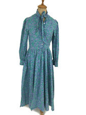Vintage Laura Ashley Purple Green Leaf Modest Dress Made Great Britain US 6 UK 8