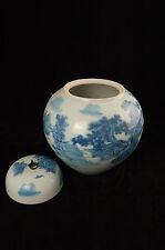 Chinesische Bodenvase, blau-weiß, Landschaft, ca. 33cm h